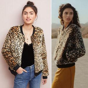 Leopard Faux Fur Bomber Jacket
